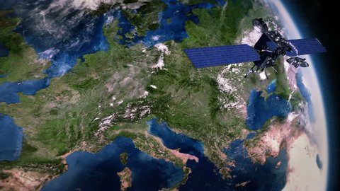 Europe. Highly detailed telecommunication satellite orbiting the Earth. 3 videos in 1 file. Satellite and Earth models based on images courtesy of: NASA http://www.nasa.gov.