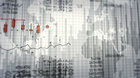 Financial data and growing charts. Red and White. 2 videos in 1 file. More options in my portfolio.