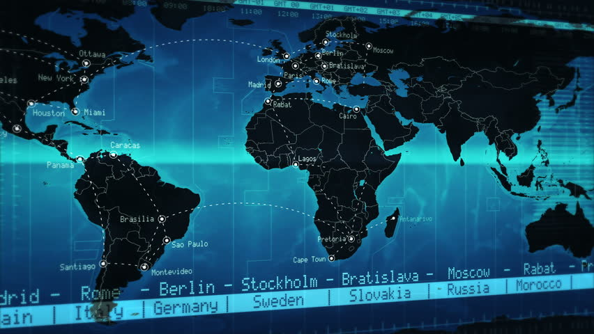 World map showing well known cities and times zones with world map showing well known cities and times zones with connections blue loopable more options in my portfolio stock footage video 11748632 gumiabroncs Gallery