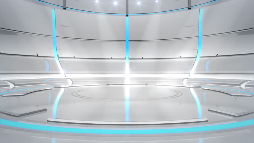 Bright, modern, futuristic white background with cyan/white neon lights. Forward camera motion. Spotlights aim towards the center of the stage.