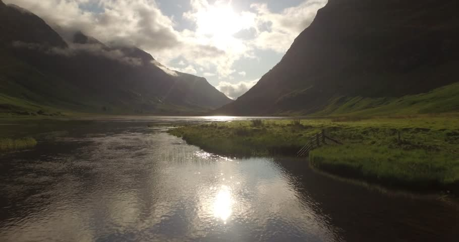 Beautiful aerial shot of Glencoe and Glen Etive in the Scottish highlands on a beautiful sunny day