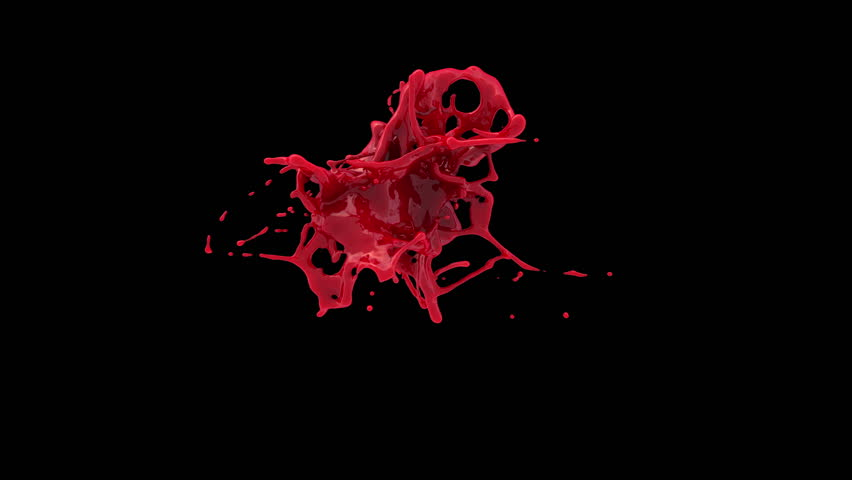 4k red bright paint splash, blood in slow motion isolated on black background (Hd, ultra 3840 X 2160, ready for compositing, with alpha) isolated on black