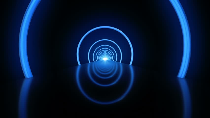 Animation fast moving in tunnel with rings from neon light. Abstract background of technology. Animation of seamless loop. | Shutterstock HD Video #11802212