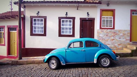 Beetle car parked in a colonial town