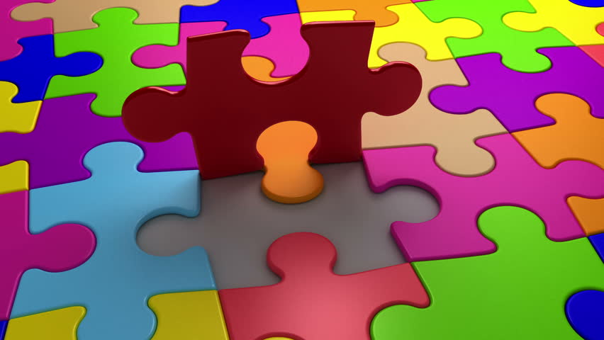 Final puzzle piece falls into place, 3d animation