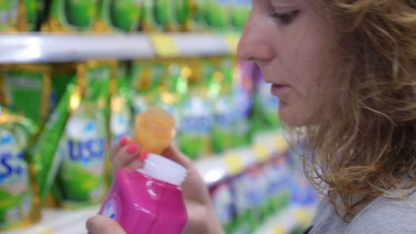 THAILAND, KOH SAMUI, 27.07.2015 -Woman Buys Washing Powder in Supermarket. Closeup. HD, 1920x1080.  | Shutterstock HD Video #11865872