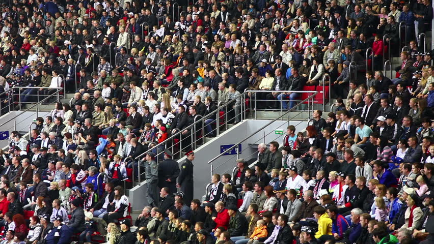 Chelyabinsk, Russia - September 17, 2015: Stadium Crowd Doing The Wave
