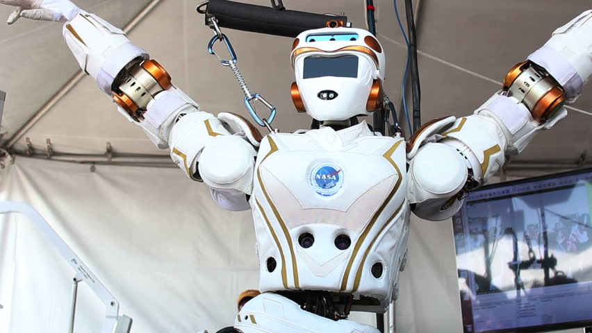 "POMONA, CA - JUNE 6, 2015: NASA Johnson Space Center show off ""Valkyrie"" at the DARPA Robotics Challenge in Pomona, CA on June 6, 2015. The female robot is a testbed for future robots headed to Mars."