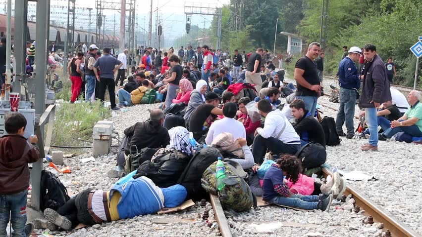 Idomeni, Greece - September 24 , 2015: Hundreds of immigrants are in a wait at the border between Greece and FYROM waiting for the right time to continue their journey from unguarded passage