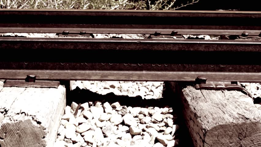 Old train tracks dolly shot