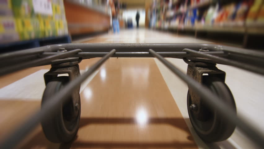 Detail of the Wheels of a Grocery Store Cart Moving inside the Super Market | Shutterstock HD Video #11916050
