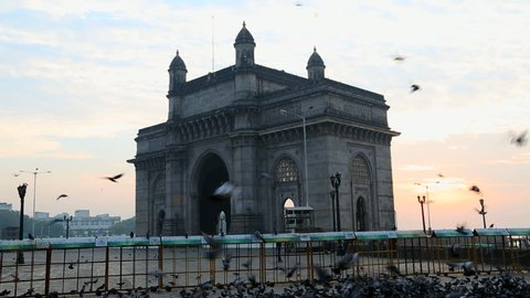 India - March 2015: Mumbai Gateway India Maharashtra Asia monument sunrise tower gate building wildlife sea harbour travel tourist