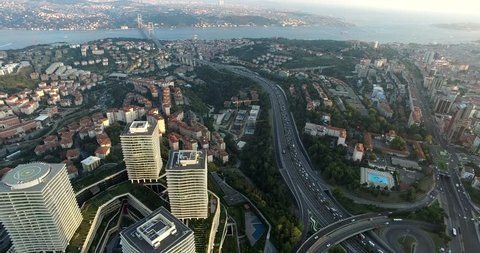 Airview of Skyscrapers of Istanbul, Turkey