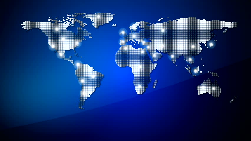 Digital world map animation seamless loop stock footage video world map with nodes linked by lines hd stock video clip gumiabroncs Gallery