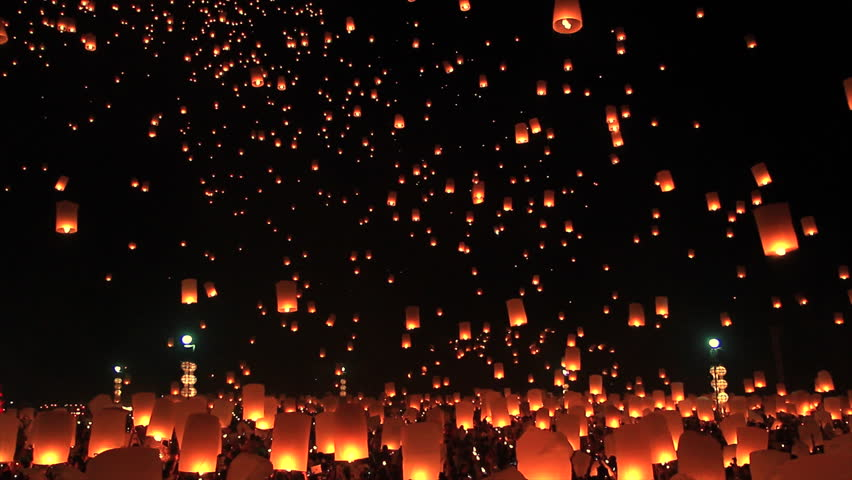 Highlight Floating lanterns in Yee Peng Festival, Loy Krathong celebration in Chiangmai, Thailand