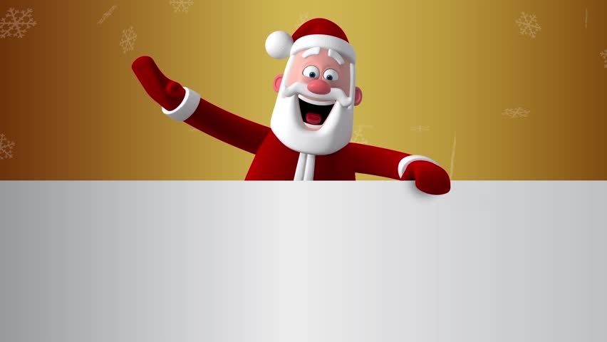 3d new year greeting card christmas animation of santa claus stand santa looks out of paper 3d cartoon animation greeting card white space for text m4hsunfo Images