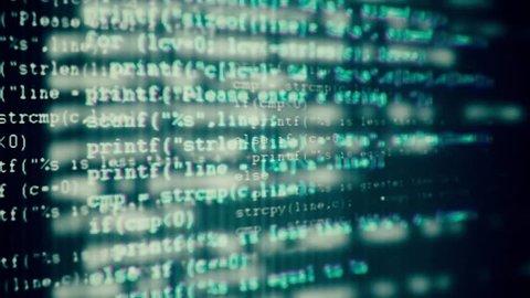 Programming code running through the computer screen terminal.