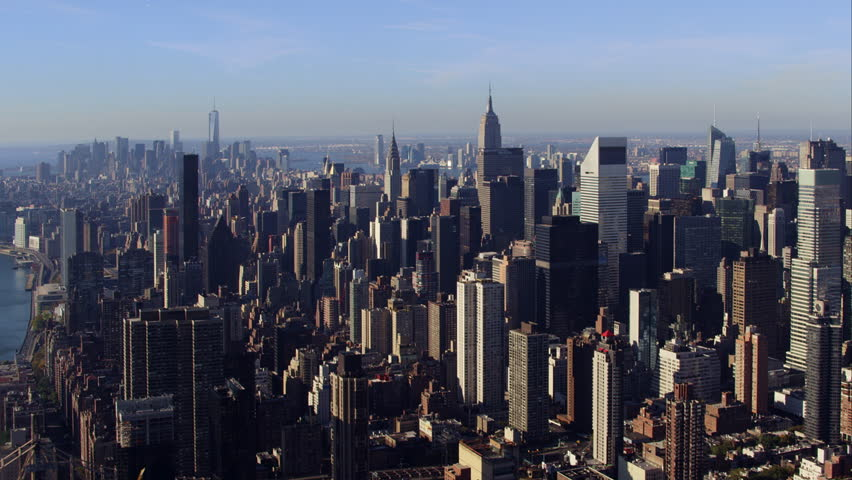 Aerial sunrise New York City skyline view of lower and Midtown Manhattan.  | Shutterstock HD Video #12046136