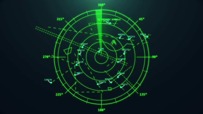 Airport air traffic control radar. Screen. Monitor. Flight control. Security