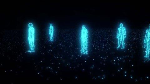 Binary people computer team glowing data 0 1 4K
