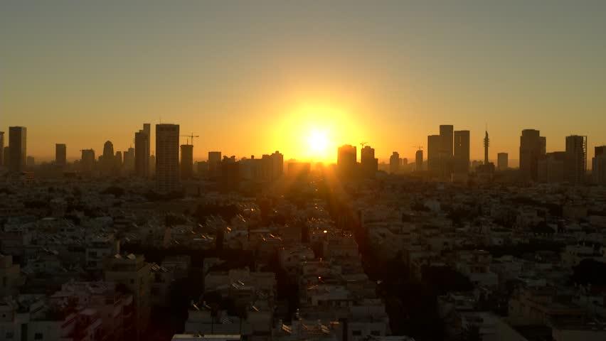 Israel Tel Aviv Sunset over City | Shutterstock HD Video #12096842