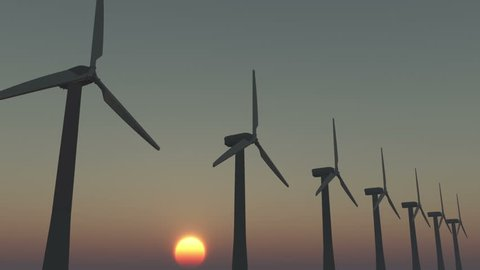 4k Windmill Turbines Clean At Sunrise,Green Wind Energy,new power energy. cg_03006_4k