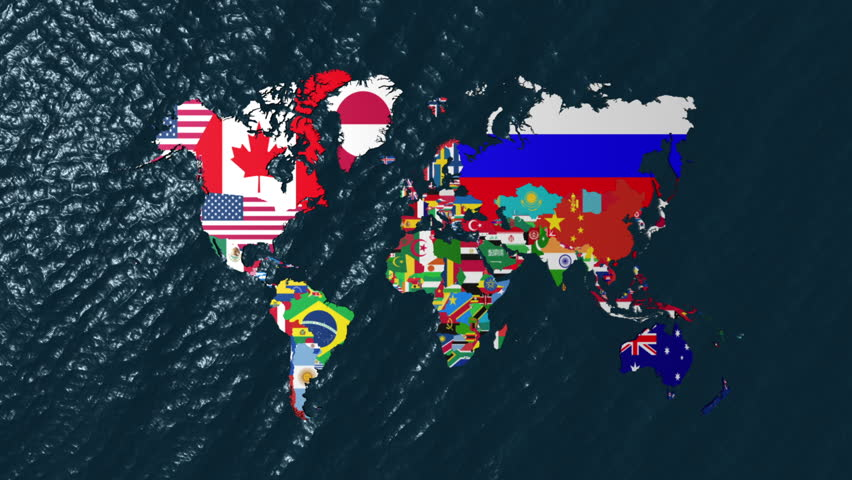 High definition loopable spinning globe with countries flags large 3d wide flag world map zoom to north america hd stock video clip gumiabroncs Images
