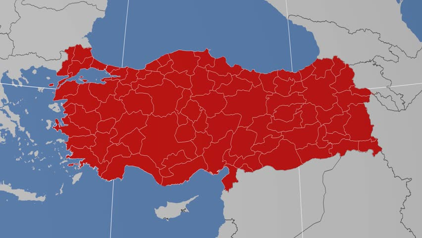 Siirt Region Extruded On The Administrative Map Of Turkey Solid