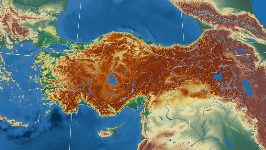 Cankiri Region Extruded On The Physical Map Of Turkey Rivers And