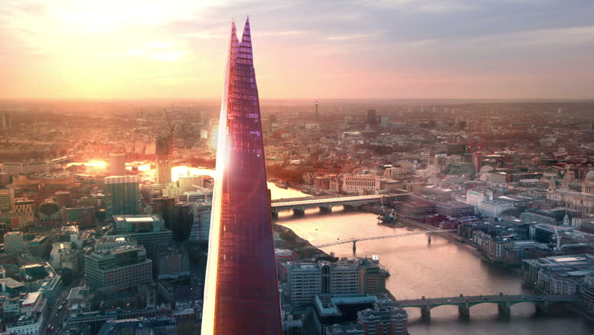 LONDON, UK - JANUARY 27, 2015: City of London, River Thames and Shard at sunset | Shutterstock HD Video #12153617
