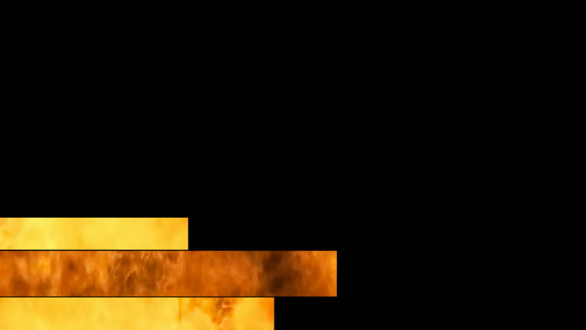 Lower thirds animation: three bands (different flames, orange, red, yellow) appear and disappear.