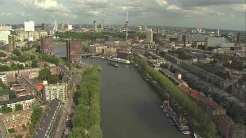 Aerial Rotterdam FlyOver Harbour To City