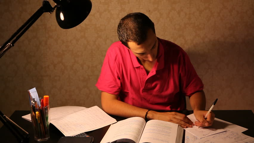 HD: Young Man Studying at Desk and Getting Frustrated
