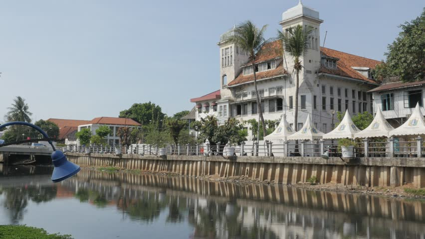 Jakarta,Indonesia - September 03,2015: Dutch Colonial building on Kali Besar canal