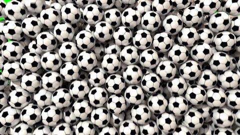 Soccer balls footballs fill screen transition composite overlay 4K
