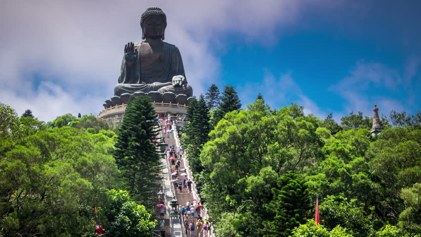 Giant Buddha sitting on lotus Lantau island. Hong Kong.
