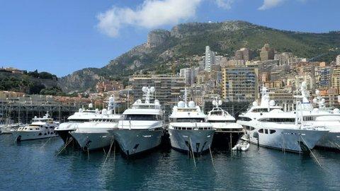 Monaco - June 2015: Aerial yacht Monte Carlo building finance marina insurance business boat harbor luxury tourism coastline travel