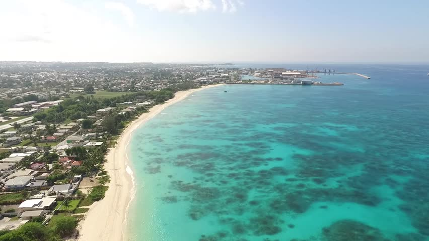 A Beautiful Aerial View of Tropical Caribbean Shoreline on the island of Barbados