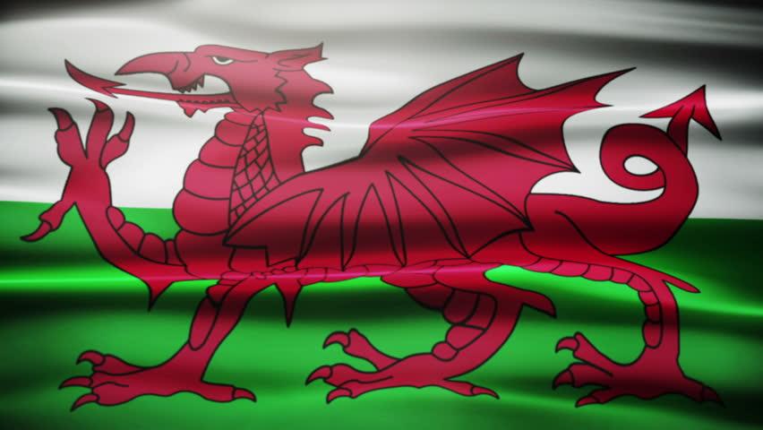 Waving Welsh flag.