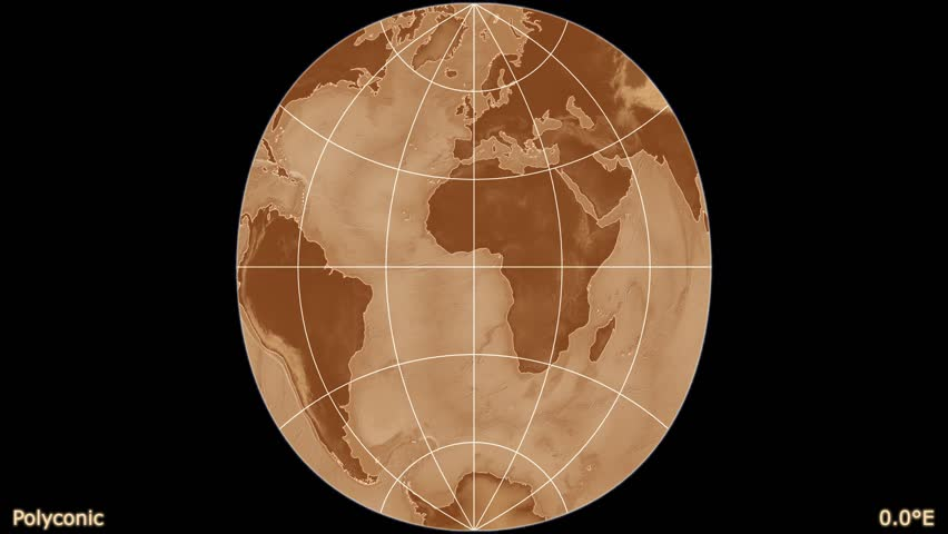 Distortion patterns animated world map in the sinusoidal projection distortion patterns animated world map in the polyconic projection shaded elevation map used gumiabroncs Choice Image
