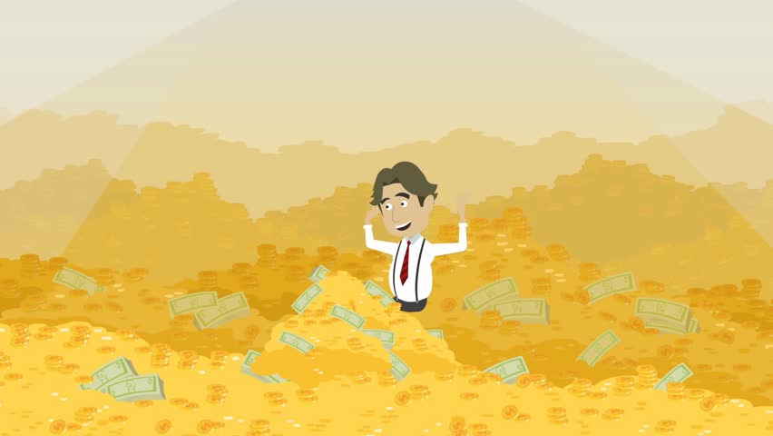 cartoon animation video, a man is sitting in a pile of gold coins, a pop-up money, a lot of coins and paper money,  yellow background, and around one man money, colored funny picture,  cash vault,
