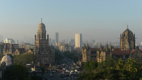 4k Time lapse video of illumination on Chhatrapati Shivaji Terminus (CST) formerly Victoria Terminus, is a UNESCO World Heritage Site and Brihan Mumbai Municipal Corporation (BMC) Building, Mumbai.