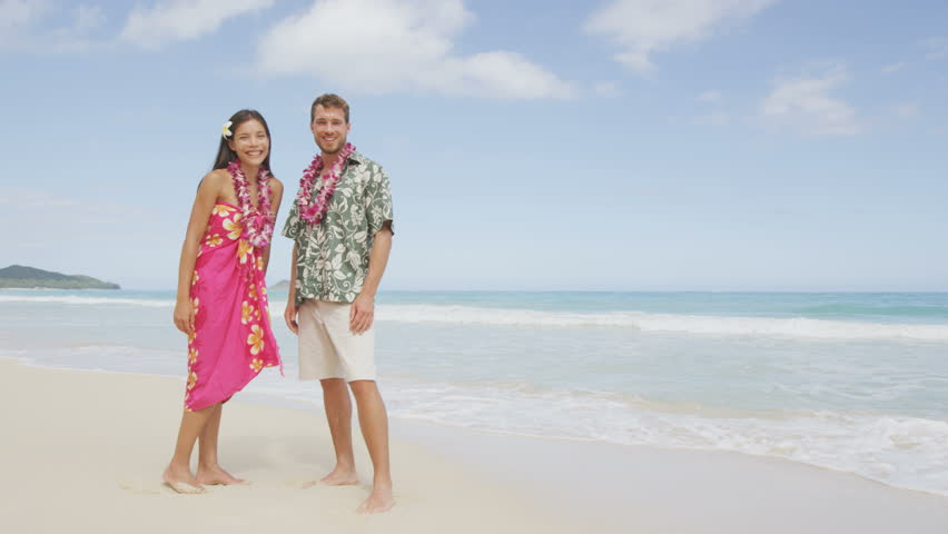Stock Video Of Happy Hawaii Beach Couple In Aloha