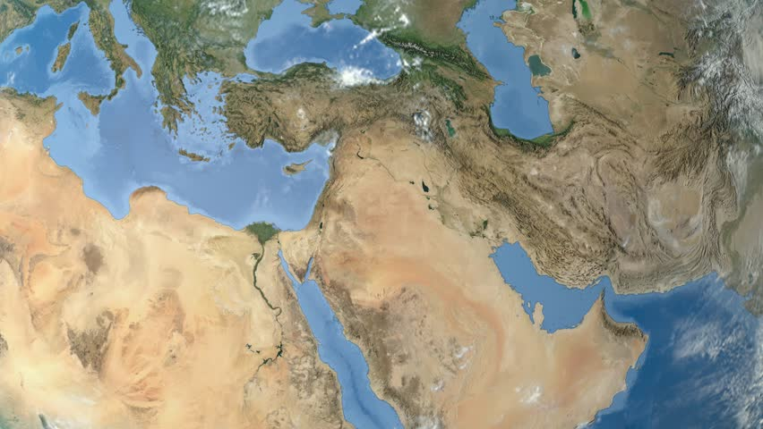 Night To Day Rotating Earth Zoom In On Israel Outlined - Middle east satellite map