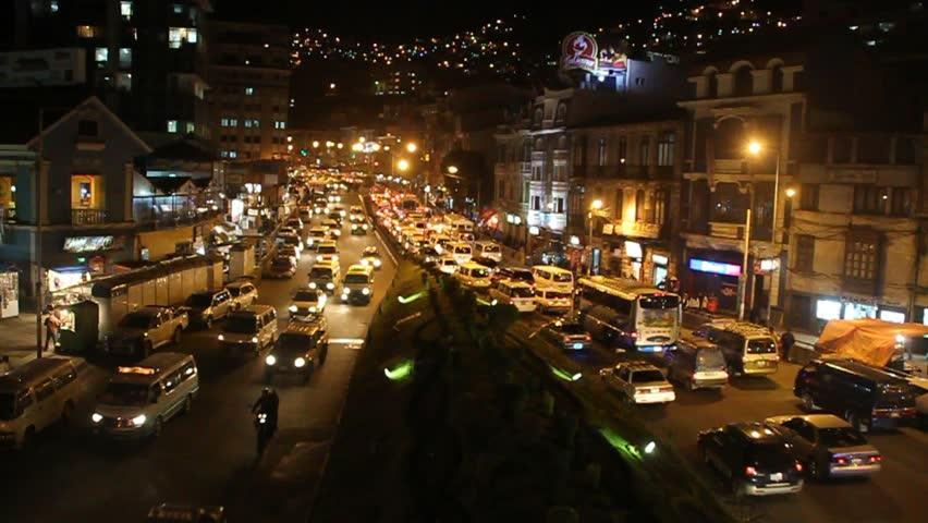 LA PAZ, BOLIVIA - APRIL 28, 2015: Traffic on a main road Avenida Ismael Montes in La Paz, Bolivia. | Shutterstock HD Video #12390422