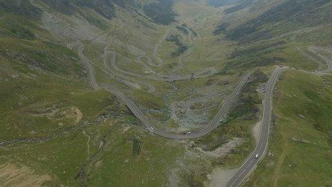 4K aerial shot of Transfagarasan – one of the highest altitude mountain roads in Romania