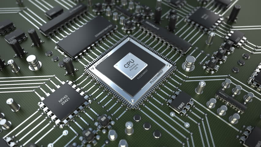 close up technology background electronic stock footage videoclose up technology background electronic circuit chip on pc board rotation on 360 degrees (4k, 30fps, loop, 3d render)