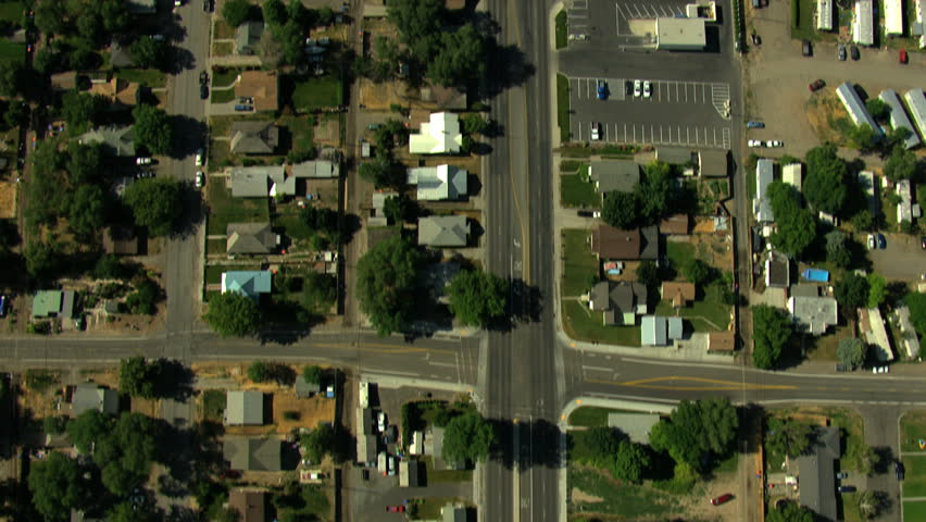 Aerial Idaho USA town road traffic home building city | Shutterstock HD Video #12436031