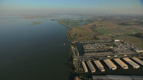 Aerial San Francisco Bay Pacific ocean Antioch Marina