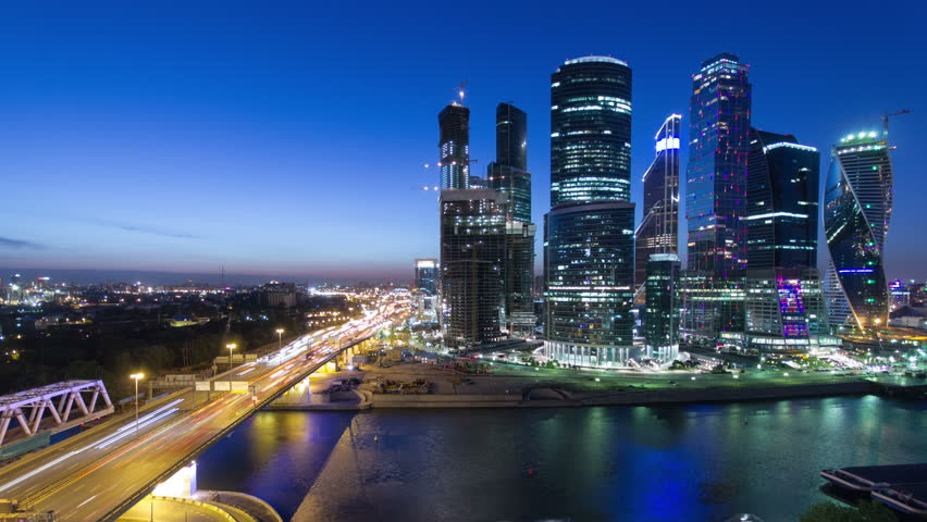 Skyscrapers International Business Center City at night with Moscow river timelapse from top, Moscow, Russia 4K